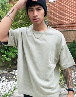 ASOS DESIGN knitted linen blend crew neck t-shirt in sage green marl