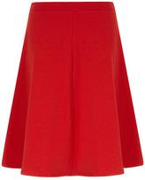 Red textured full midi skirt