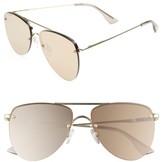Le Specs Women's The Prince 59Mm Mirrored Rimless Aviator Sunglasses - Light Gold