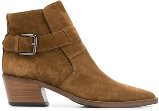 Via Roma 15 Suede Buckle Ankle Boot