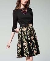 Black & Yellow Floral Three Quarter-Sleeve Dress