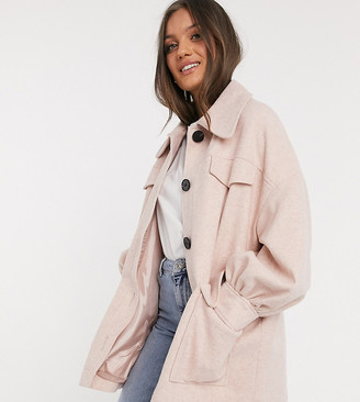 ASOS DESIGN Petite extreme sleeve shacket in pink