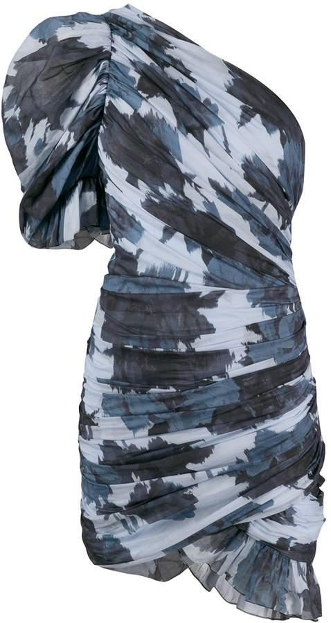 Alexandre Vauthier Printed Pouf-Sleeve Mini Dress