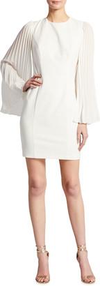 Aidan Mattox Pleated Long-Sleeve Crepe Cocktail Dress