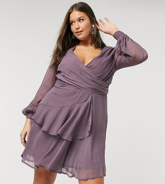 ASOS DESIGN Curve wrap waist mini dress with double layer skirt and long sleeve in Mauve