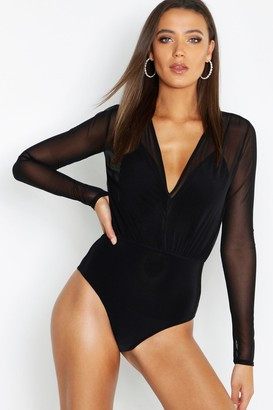 boohoo Tall Mesh 2 in 1 Bodysuit