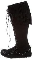 Minnetonka Fringe-Embellished Suede Knee-High Boots w/ Tags