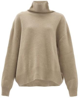 Raey Cropped Displaced-sleeve Roll-neck Wool Sweater - Grey Beige