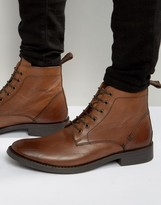 Dead Vintage Lace Up Boots Tan Leather