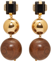 Marni Gold Stone and Wood Clip-on Earrings