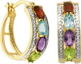 SPARKLE ALLURE Classic Treasures Genuine Multi-Gemstone and Diamond-Accent Hoop Earrings