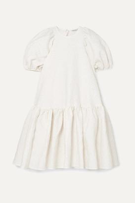 Cecilie Bahnsen Alexa Oversized Tiered Cloque Dress - White
