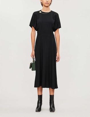 Victoria Beckham Draped-sleeve crepe midi dress