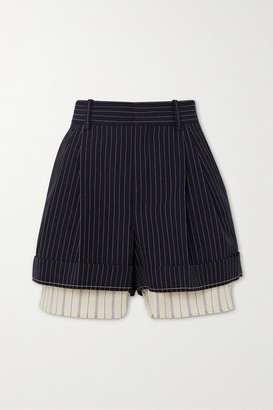 Chloé Layered Pinstriped Grain De Poudre Wool And Silk Shorts - Navy