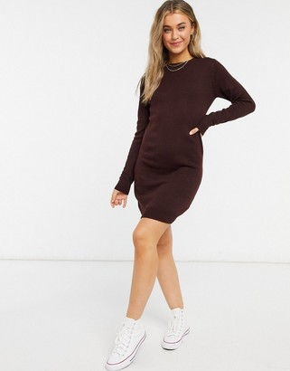 Brave Soul Grunge crew neck sweater dress in merlot
