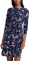 Chaps Petite Floral Draped Knot-Front Dress