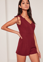 Missguided Red Lace Up Shoulder Playsuit