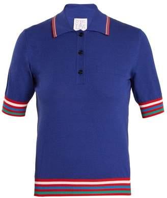 Stella Jean Contrast-striped Knit Polo Shirt - Womens - Blue