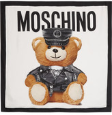 Moschino Teddy Printed Silk Scarf - White