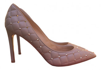 Valentino Rockstud Spike Beige Leather Heels