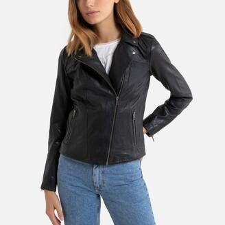 Naf Naf Leather Zip-Up Jacket