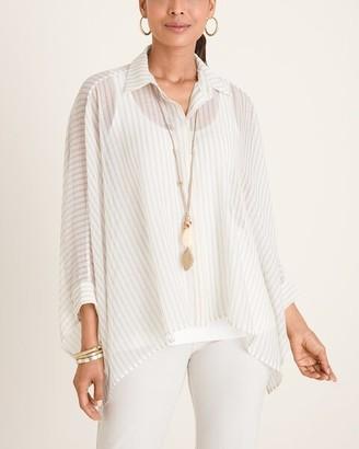 Chico's Marla Wynne for Chiffon Striped Dolman-Sleeve Shirt