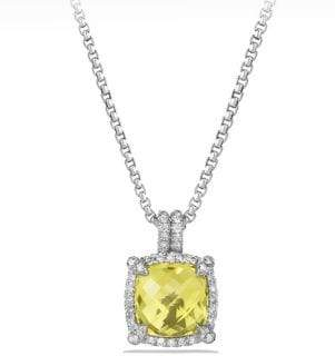 David Yurman Chatelaine Pave Bezel Pendant Necklace with Gemstone and Diamonds