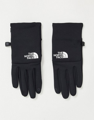 The North Face Etip recycled white logo glove in black