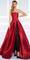 Mac Duggal Strapless Pleated Ball Gown with Beaded Skinny Pants