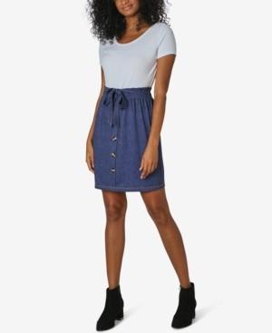 Ultra Flirt Juniors' Scoop-Neck Paperbag-Waist Dress