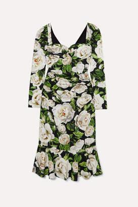 Dolce & Gabbana Ruched Floral-print Silk-blend Crepe De Chine Midi Dress - Black