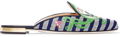 Charlotte Olympia Amour Embroidered Jacquard Slippers - Black