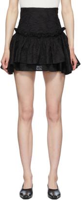 Wandering Black Embroidered Layered Miniskirt