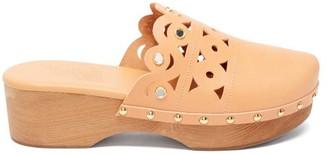 Ancient Greek Sandals Grego Laser-cut Leather Clogs - Tan