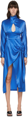 MATÉRIEL Blue Long Sleeve Sarong Dress