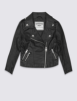 Marks and Spencer Fux Leather Zipped Through Biker Jacket (3-14 Years)