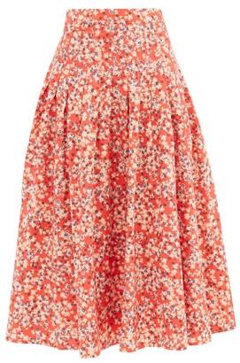 Merlette New York Harper Floral-print Cotton-poplin Midi Skirt - Red Print