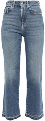 7 For All Mankind Frayed Faded High-rise Kick-flare Jeans