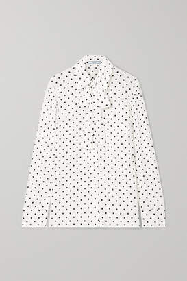 Prada Pussy-bow Polka-dot Silk Crepe De Chine Blouse - Ivory
