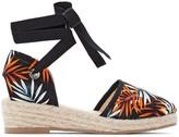 Anne Weyburn Tropical Print Tie-Leg Wedge Espadrilles