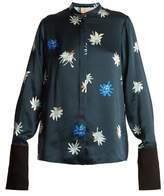Roksanda Carone floral-print hammered-satin blouse