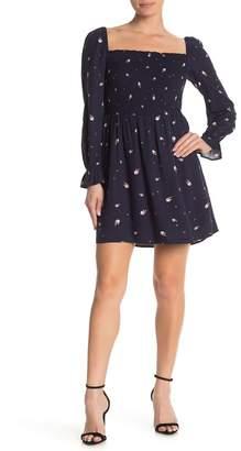 Elodie K Long Sleeve Smocked Square Neck Dress