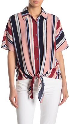 Sugar Lips Multi-Colored Short Sleeve Stripe Blouse