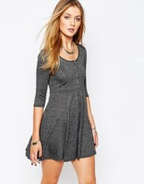 Glamorous Button Through Skater Dress with Long Sleeve