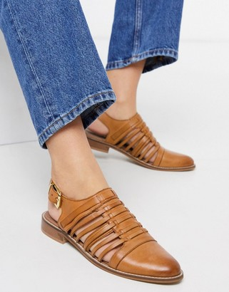 ASOS DESIGN Monica leather woven flat shoes in tan