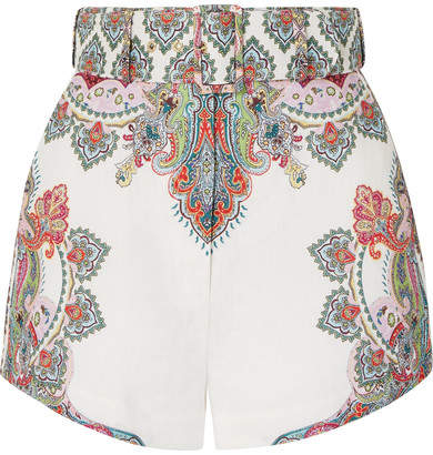 Zimmermann Ninety-six Belted Printed Linen Shorts - White