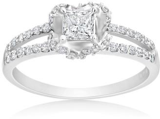 Summerrose Jewelry Summerrose 14k White Gold 3/4ct TDW Heart Shaped Princess-Cut Diamond Halo Engagement Ring