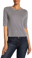 Vince 3/4 Sleeve Stripe Silk Blend Tee