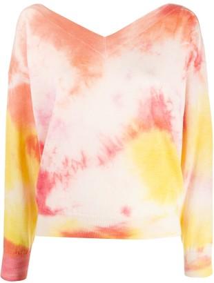 MSGM tie dye v-neck jumper