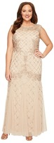 Adrianna Papell Plus Size Cap Sleeve Fully Beaded Lattice Motif Gown Women's Dress
